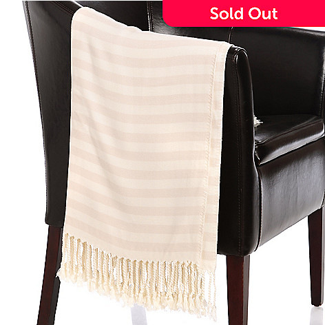 437-123 - Grand Suites® 72'' x 52'' Viscose from Bamboo Striped Fringed Throw
