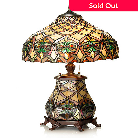 437-152 - Tiffany-Style 21'' Arielle Lattice Design Stained Glass Table Lamp