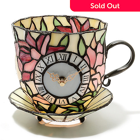 437-165 - Tiffany-Style 6.25'' Teacup Stained Glass Accent Lamp & Clock