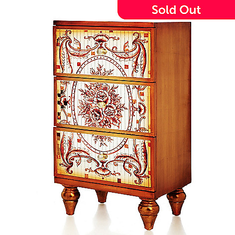 437-179 - Style at Home with Margie 30.75'' Argento Mirrored Mosaic Chest of Drawers