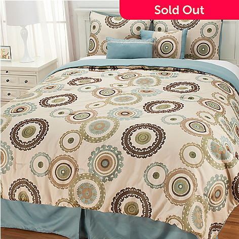 437-218 - North Shore Linens™ Circular Medallion Six-Piece Bedding Ensemble