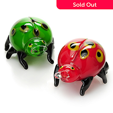 437-268 - Favrile 5'' Hand-Blown Art Glass Ladybug Pair