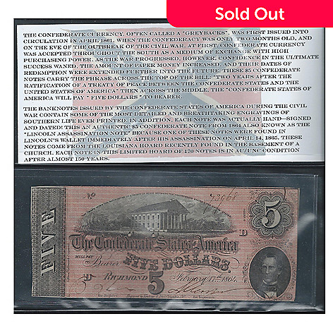 437-295 - 1864 $5 Confederate from Louisiana Hoard: Uncish Note