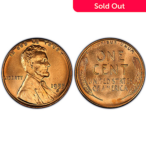 437-305 - 1955 Last Regular Issued Lincoln Pennies Uncirculated (S) Roll of Coins
