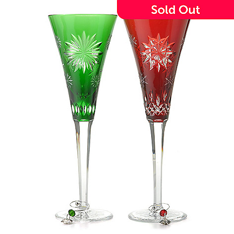 437-352 - Waterford Crystal Snowflake Wishes 8 oz Ruby Joy & Emerald Courage Flute Set