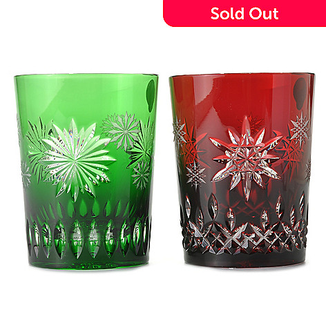 437-354 - Waterford Crystal Snowflake Wishes Ruby Joy & Emerald Courage Double Old Fashioned Glasses
