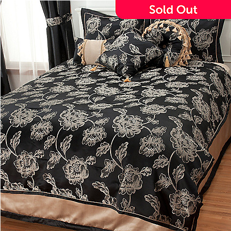 437-381 - North Shore Linens™ Floral Jacquard Seven-Piece Bedding Ensemble