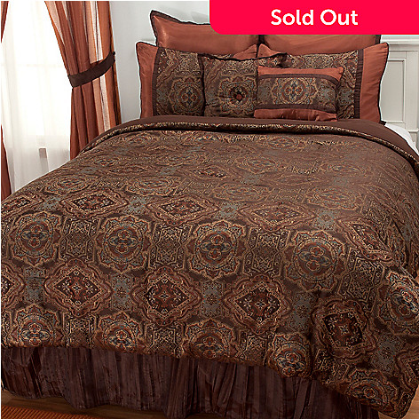 437-490 - North Shore Living™  Eight-Piece Medallion Bedding Ensemble