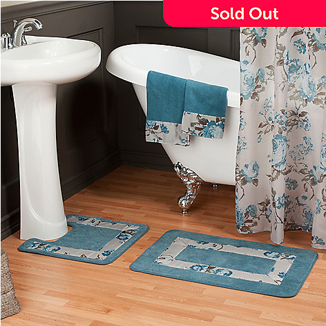 437-531 - North Shore Linens™ Floral Shower Curtain, Hand Towel & Bath Rug Set