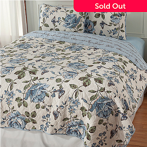 437-538 - North Shore Linens™ Three-Piece Floral Quilted Reversible Coverlet Set