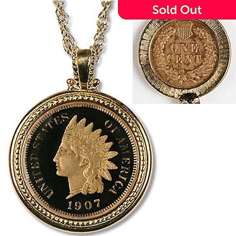 437-544 - Gold-tone Hand Painted Indian Head Penny Pendant w/ 20'' Chain