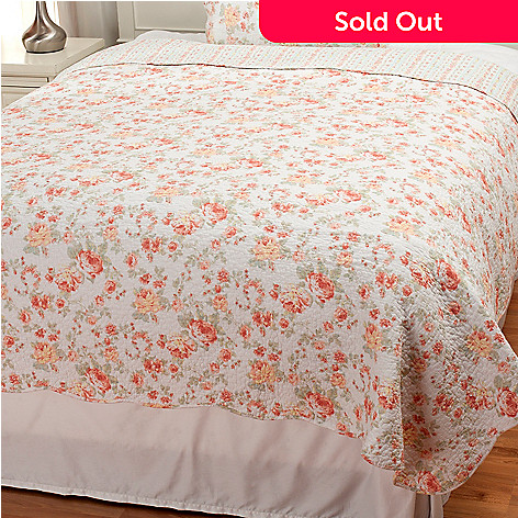437-560 - North Shore Linens™ Cotton Floral Quilted Coverlet