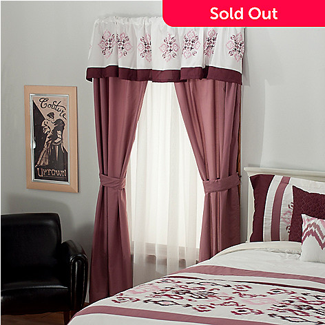 437-572 - North Shore Linens™ Floral Embroidered Five-Piece Window Set