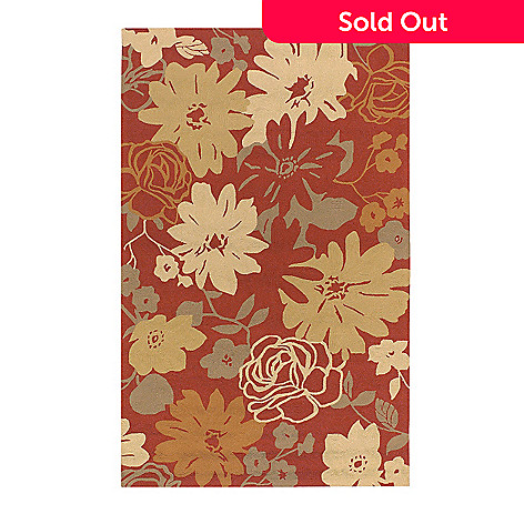 437-602 - All Season Rugs ''Brighton Floral'' Hand-Hooked Stain/UV Resistant Indoor/Outdoor Rug