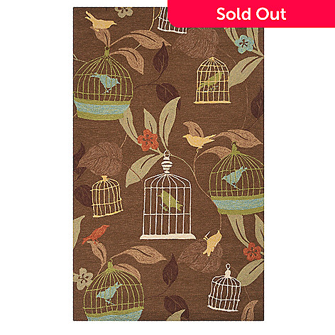 437-605 - All Season Rugs ''Birds'' Hand-Hooked Stain/UV Resistant Indoor/Outdoor Rug