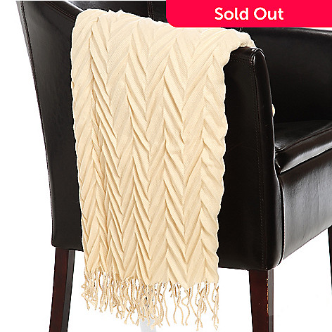 437-614 - North Shore Linens™ 60'' x 42'' Acrylic Crinkle Chevron Throw