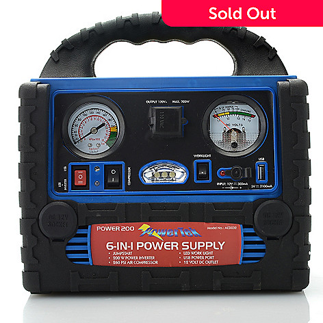 437-652 - MobilePower 6-in-1 Power Supply w/ Vehicle Jumpstart, AC/DC Power & Air Compressor