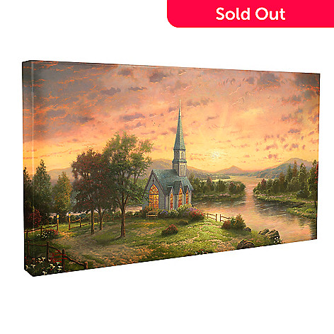 437-700 - Thomas Kinkade ''Sunrise Chapel'' 16'' x 31'' Gallery Wrap