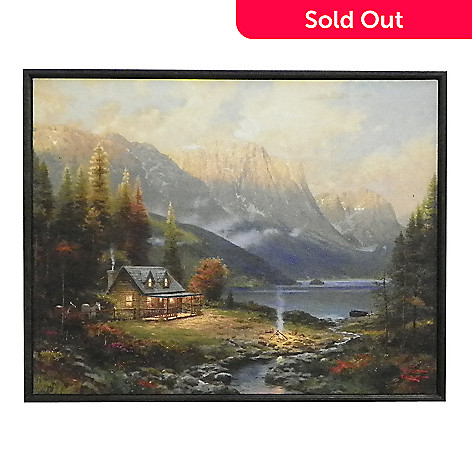 437-712 - Thomas Kinkade ''Beginning of a Perfect Day'' Shadow Boxed Hardboard Canvas