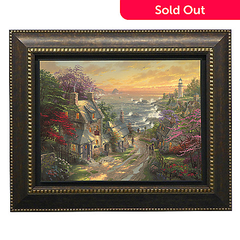 437-723 - Thomas Kinkade ''Village Lighthouse'' Framed Floating Textured Print