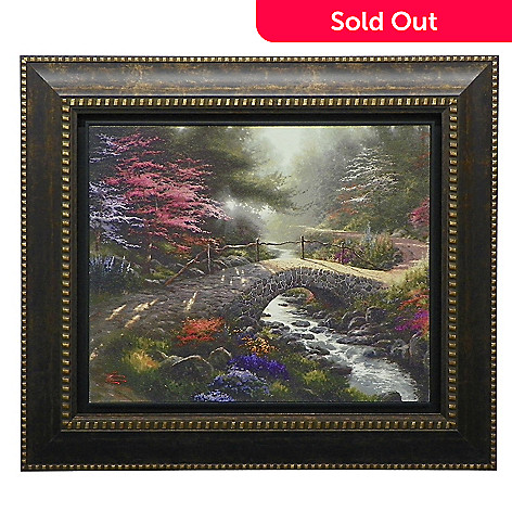 437-724 - Thomas Kinkade ''Bridge of Faith'' Floating Framed Textured Print