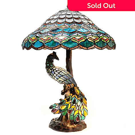 437-727 - Tiffany-Style 26.5'' Peacock's Hallow Double Lit Stained Glass Table Lamp