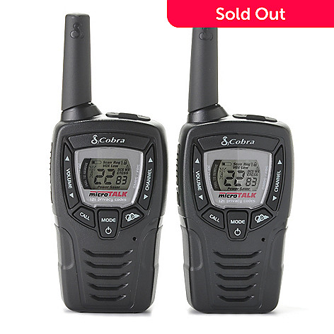 437-754 - Cobra® Set of Two 23-Mile Walkie Talkies w/ Built-in NOAA Weather Radio