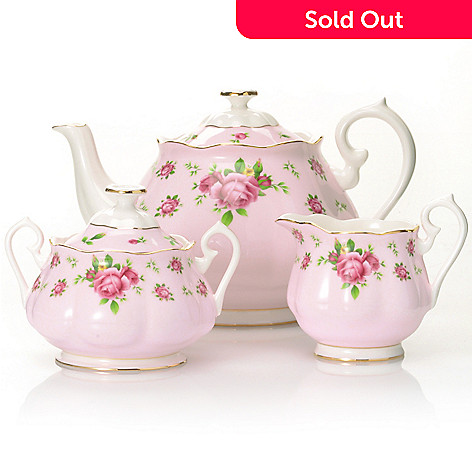 437-774 - Royal Albert New Country Roses Three-Piece Bone China Tea Set
