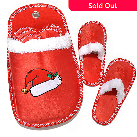 437-839 - North Shore Living™ Set of Six Microfleece Holiday Slippers w/ Holder