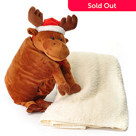437-840 - North Shore Linens™ Holiday Hugs Stuffed Animal w/ Sherpa Throw
