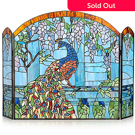 437-849 - Tiffany-Style 27'' Wisteria Peacock Stained Glass Fireplace Screen