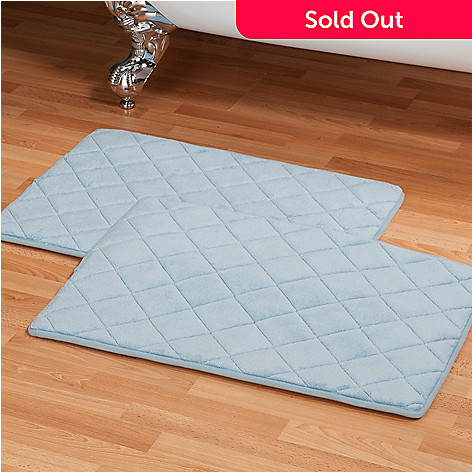437-866 - Cozelle® Set of Two Diamond Stitch Memory Foam Bath Mats