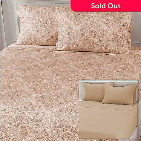 437-867 - Cozelle® Set of Two Lace Print & Solid Microfiber Four-Piece Sheet Sets
