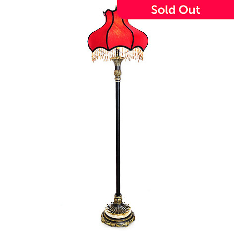 437-943 - Style at Home with Margie 62'' Beaded Scarlet Victorian-Inspired Floor Lamp