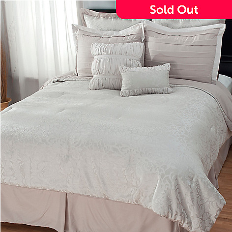 437-977 - North Shore Linens™ Floral Jacquard Eight-Piece Comforter Set