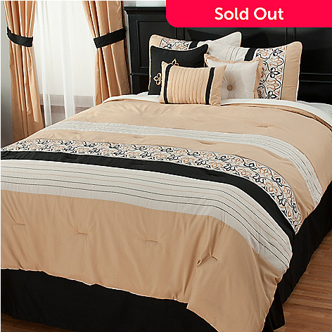 438-053 - North Shore Living™ Scrollwork Embroidered Seven-Piece Bedding Ensemble