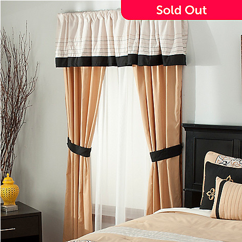 438-055 - North Shore Linens™ Five-Piece Scrollwork Embroidered Window Set