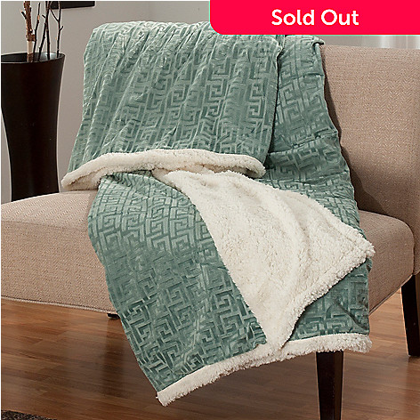 438-073 - North Shore Linens™ Greek Key Faux Mink & Sherpa 95'' x 78'' Reversible Throw