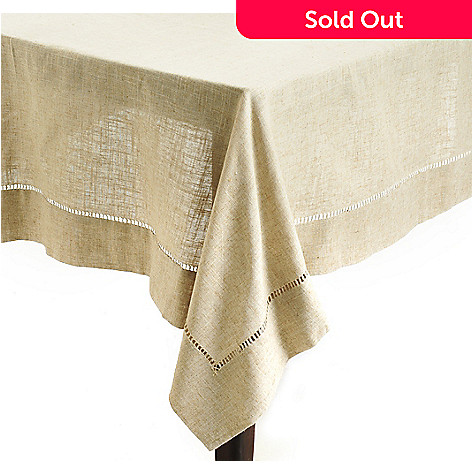 438-117 - Jorge Pérez 104'' x 65''Poly/Linen Blend Hemstitched Tablecloth