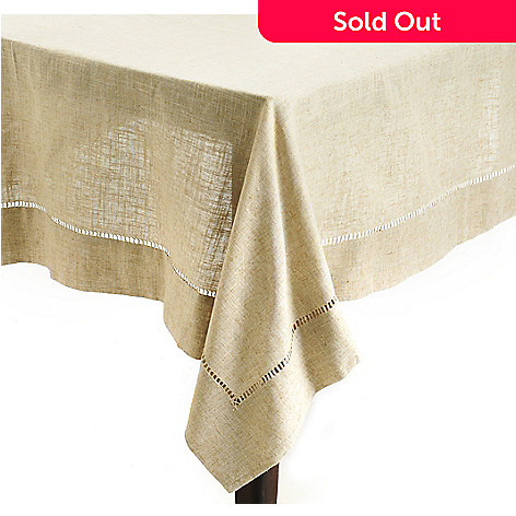 438-118 - Jorge Pérez 120'' x 65'' Poly/Linen Blend Hemstitched Tablecloth