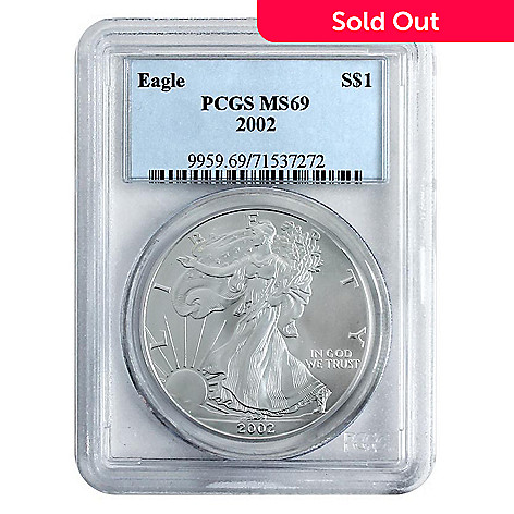 438-175 - 2002 Silver American Eagle MS69 PCGS (P) Coin w/ Slab