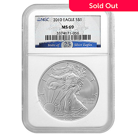 438-176 - 2010 Silver American Eagle MS69 NGC (P) Coin w/ Slab