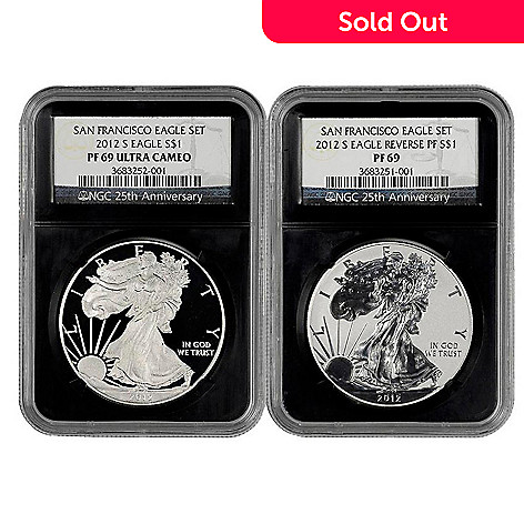 438-180 - 2012 Silver 75th Anniversary American Eagle PR69 Proof NGC (S) Set of Two Coins