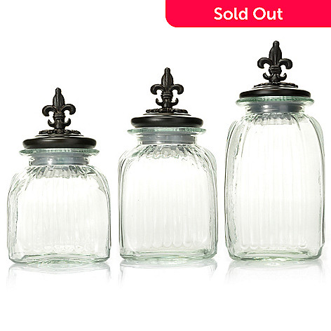438-193 - Jorge Pérez Fleur-de-lis Antique-Style Covered Glass Jars