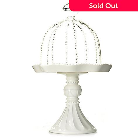 438-196 - Jorge Pérez Gabrielle 8.25'' Stoneware Cupcake Pedestal w/ Glass Dome
