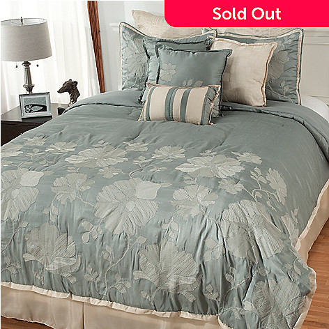 438-255 - North Shore Linens™ 10-Piece Floral Embroidered Bedding Ensemble