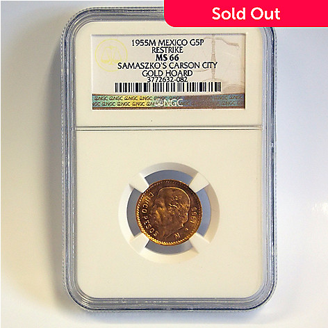 438-355 - 1955 5 Peso Gold Samaszko Carson City Hoard MS66 NGC Coin w/ Slab