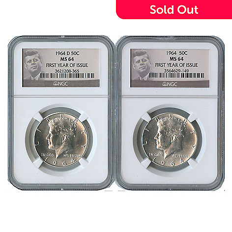 438-360 - 1964 Silver Kennedy MS64 First Year Issue NGC (P & D) Set of Two Coins