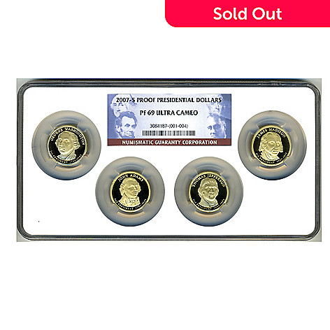 438-364 - 2007 Presidential Dollars PF69 Ultra Cameo NGC (S) Set of Four Coins w/ Holder