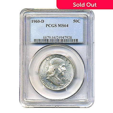 438-366 - 1960 or 1961 Silver Franklin MS64 PCGS (P & D) Half Dollar Coin w/ Slab